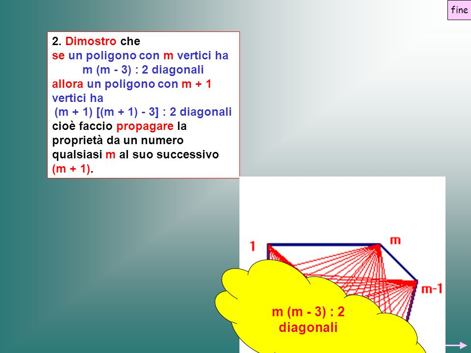 (m + 1) [(m + 1) - 3] : 2 diagonali